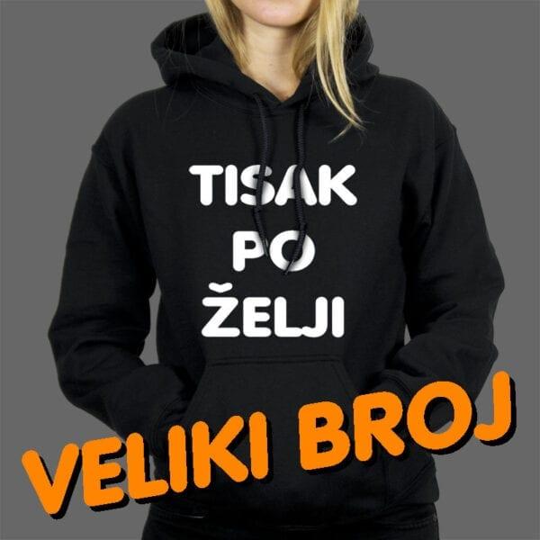 Tisak na žensku hoodie oversize